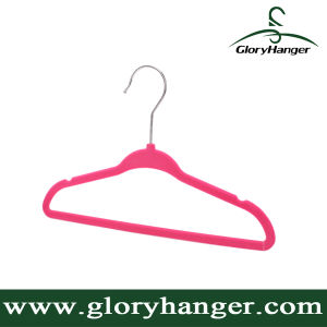 Wholesale Flocking Hanger with Metal Hook Plastic Velvet Clothing Hanger for Suppermarket Hot Sales 2016 pictures & photos