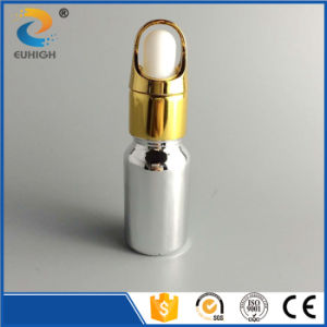 Shiny 10ml Glass Dropper Bottle with Silver Electroplating Surface Handing