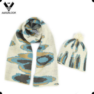 Fashion Winter Jacquard Knit Intarsia Pattern Scarf Beanie Set pictures & photos