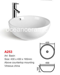 Round Ceramic Washing Art Basin, Single Bowl No. A253 pictures & photos