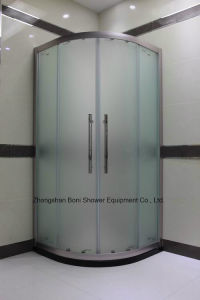 Bathroom 8mm Frosted Glass and Brushed Aluminium Quadrant Door Shower Enclosure pictures & photos