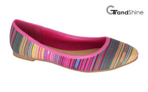 Women′s Stripe Printed Canvas Flat Ballet Shoes