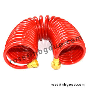 50FT Garden Coil Hose with Brass Connectors, PU, PVC, EVA Material