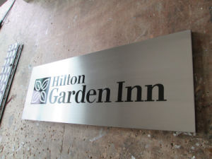 Customized Hotel Inn Decoration Brushed Steel Wall Identity Plaque pictures & photos