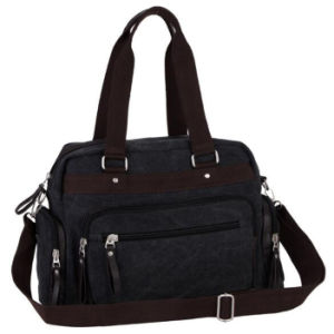 New Arrival Black Canvas Diaper Shoulder Tote Bag for Ladies pictures & photos