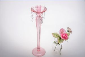 Pink Color Single Poster Glass Candle Holder for Wedding Decoration pictures & photos