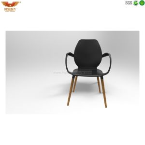 Black Back with Wooden Feet Plastic Chair Rl3000W/Op-St