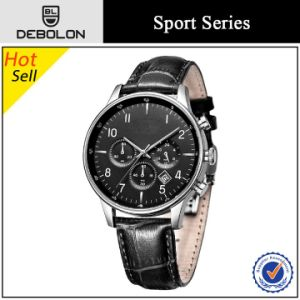 Genuine Leather Stainless Steel Chronograph Men Watch 2015
