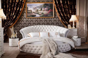 Luxury Tufted Genuine Leather Round Bed Set for Bedroom (LB-001) pictures & photos