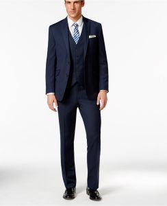 Men 3-Pieces Vest Denim Blue Slim-Fit Suit pictures & photos