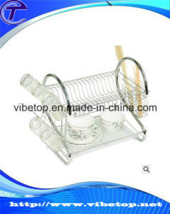 Factory Wholesale 2 Tier Kitchen Stainless Steel Dish Rack pictures & photos