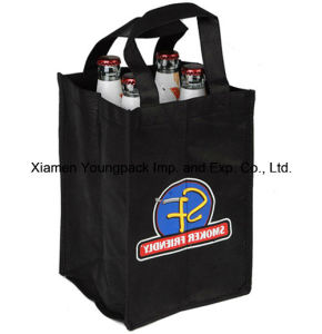 Black Non-Woven Cloth 4 Bottle Wine Bag with Divider pictures & photos
