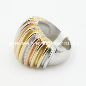 2015 Stainless Steel Plated Gold Silver Rose Ring pictures & photos