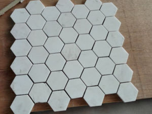 Hexagon Mosaic Tile White Marble Stone Mosaic (HSM229) pictures & photos