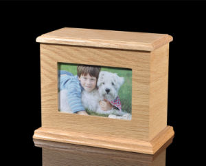 Beech Wooden Dog Urn with Picture Frame pictures & photos