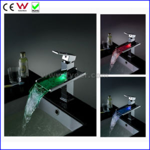 Self-Power 3 Color Waterfall Brass LED Basin Faucet Tap (FD15053F) pictures & photos