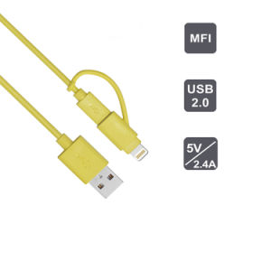 Mfi Certificated Cable 2 in 1 USB Cable Charging Cable pictures & photos