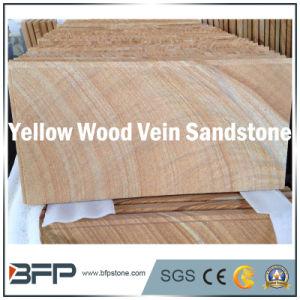 Natural Sandstone Floor Tile in Yellow Beige Wood Structure Vein pictures & photos