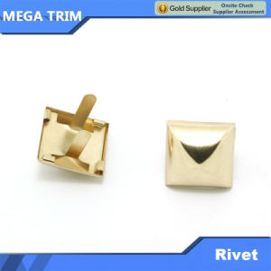 Matel Light Gold Pyramid Shap Rivet with Two Feet pictures & photos