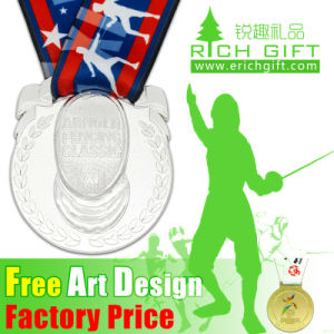 OEM Wholesale Metal Cheap Custom Award Medal with Ribbon Drapes pictures & photos