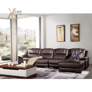 Brown Leather Sofa with Chaise (1613B)