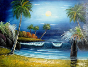 100% Handmade Modern Beautiful Sea Side Landscape Oil Painting (LH-329000) pictures & photos