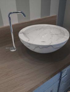 Italian Carrara Natural Bathroom Marble Wash Basin pictures & photos
