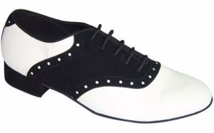 Black&White Leather Men′s Tango Dance Shoes pictures & photos