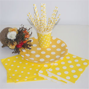 2016 New Launch Disposable Party Paper Straws Yellow Dots pictures & photos