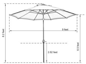 Patio 9-Feet Umbrella with Push Button Tilt and Crank - Turquoise pictures & photos