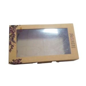 Food Grade Brown Kraft Paper Sushi Box with Clear Window pictures & photos