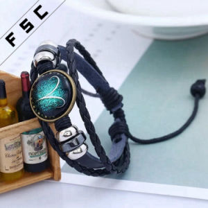 Unisex Christmas Gift 12 Constellations Braided Making Leather Zodiac Bracelet pictures & photos