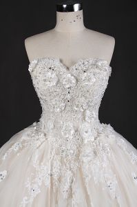 Strapless Beads Flower Lace Ball Prom Bridal Dresses Wedding Gown pictures & photos