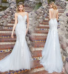 Spaghetti Straps Bridal Dress Mermaid Lace Tulle Wedding Dress Lb1865 pictures & photos