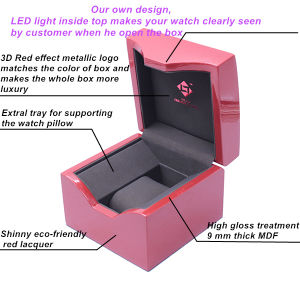 New Design Pink Color Single Wooden Watch Box pictures & photos
