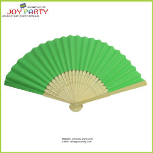 Green Decorative Paper Hand Held Fan Promotion Gifts