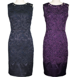 Elegant Navy Blue & Purple Net Embroidered Dress (1-038-85)