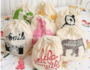Wholesale Custom Natural 100% Canvas Cotton Drawstring Bag pictures & photos