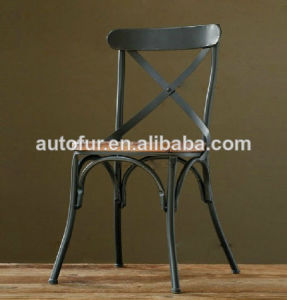 Anit -511 Steel Metal Frame Wooden Seat Cross Back Dining Chair