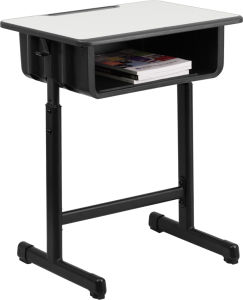 Student Desk with Grey Top and Black Pedestal Frame (SZ-SF04) pictures & photos