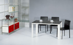 Modern Luxurious Temper Glass Top with Wooden Foot Dining Table (NK-DT049)