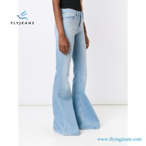 Denim Blue Stretch Boot-Cut Fashion Women Jeans pictures & photos