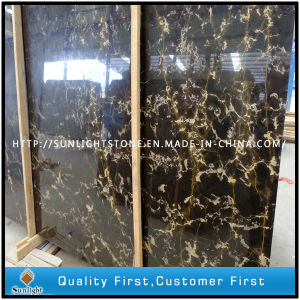 Natural China Portopo Black and Gold Marble Stone Countertops Slabs pictures & photos