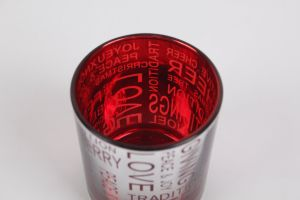 Red Plating Hallowmas Day Glass Cup Candle Holder Cup pictures & photos