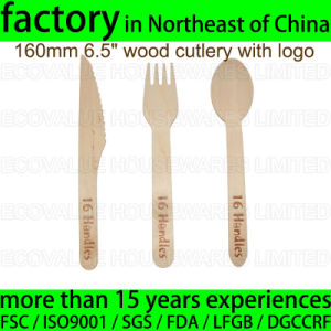 Custom Logo Embossed Handle Wood Disposable Spoon Fork Knife Set pictures & photos