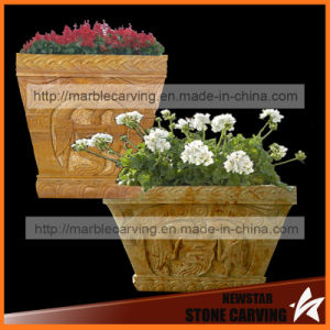 Square Yellow Stone Carving Flower Planter in Garden Nsp41 pictures & photos