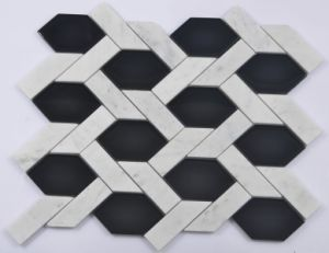 Bevel Hexagon Marble and Glass Mix Mosaic for Kitchen Room pictures & photos