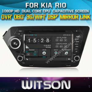 Witson Car DVD GPS for KIA Rio (W2-D8582K) Front DVR Capactive Screen OBD 3G WiFi Bluetooth RDS pictures & photos
