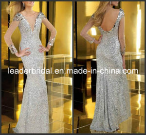 Silver Sequins Evening Dress Full Tulle Sheath Party Prom Dresses E29681 pictures & photos