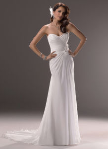 Simple Ivory Sweetheart Column Chiffon Prom Evening Dress (SCL-WD049)
